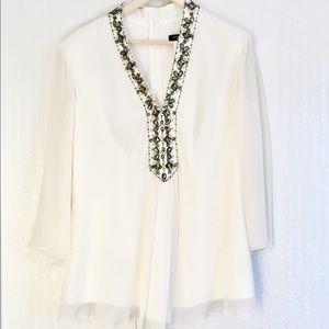 Tadashi Shoji Jeweled Neck White Chiffon Silk Top